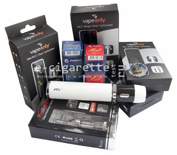 Клиромайзеры  VapeOnly, Protank, Vivi Nova и мод электронной сигареты Joyetech eVic
